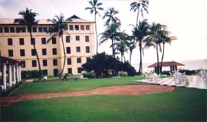 The grounds of the Galle Face Hotel