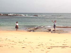 Paddling in the ocean at Tangalle